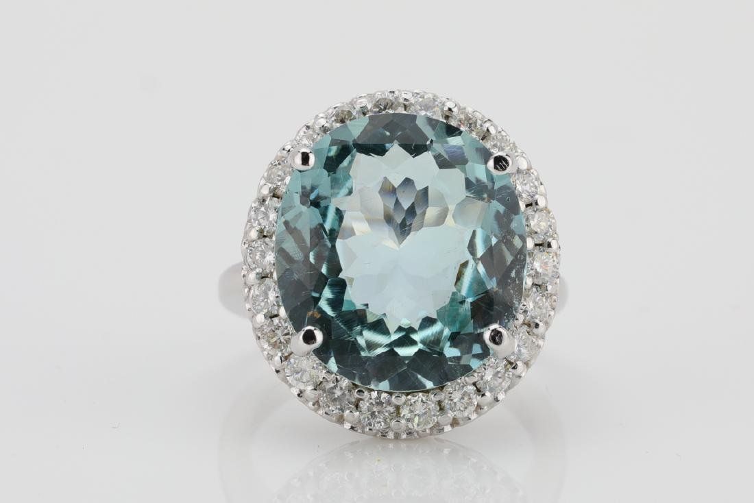 14.25ct Blue Topaz, 1.60ctw Diamond & 14K Ring