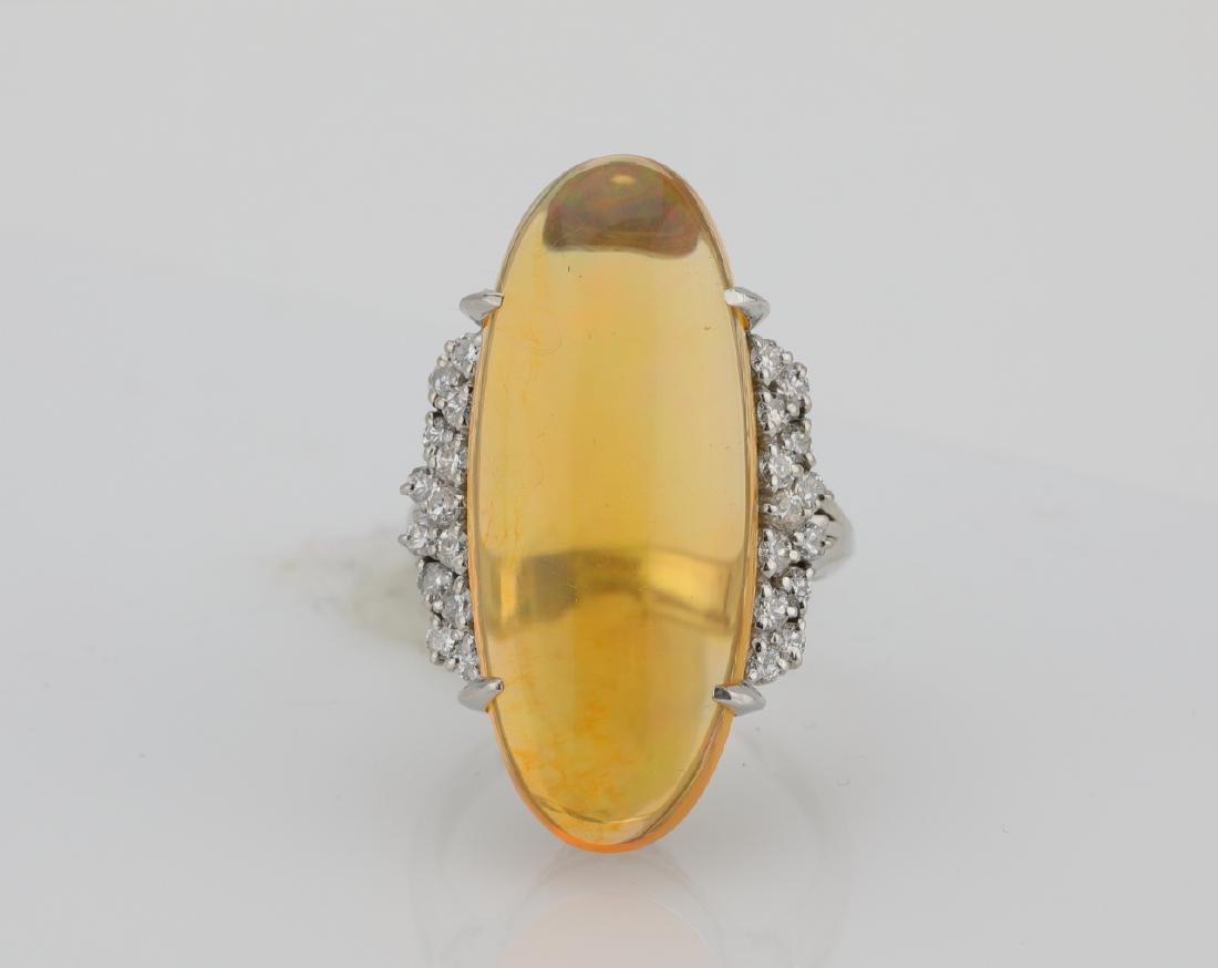 12.15ct Jelly Opal, .60ctw Diamond & Platinum Ring