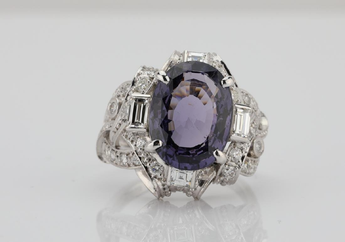 5.25ct Purple Spinel, .75ctw Diamond, Platinum Ring