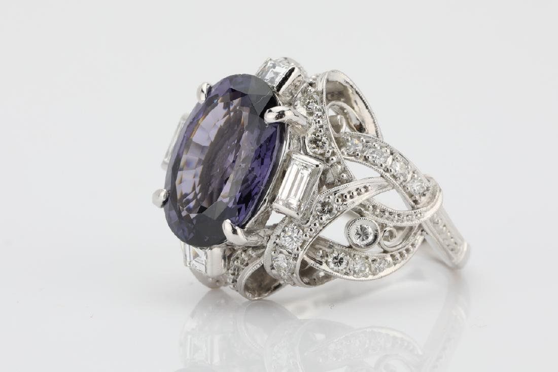5.25ct Purple Spinel, .75ctw Diamond, Platinum Ring - 2