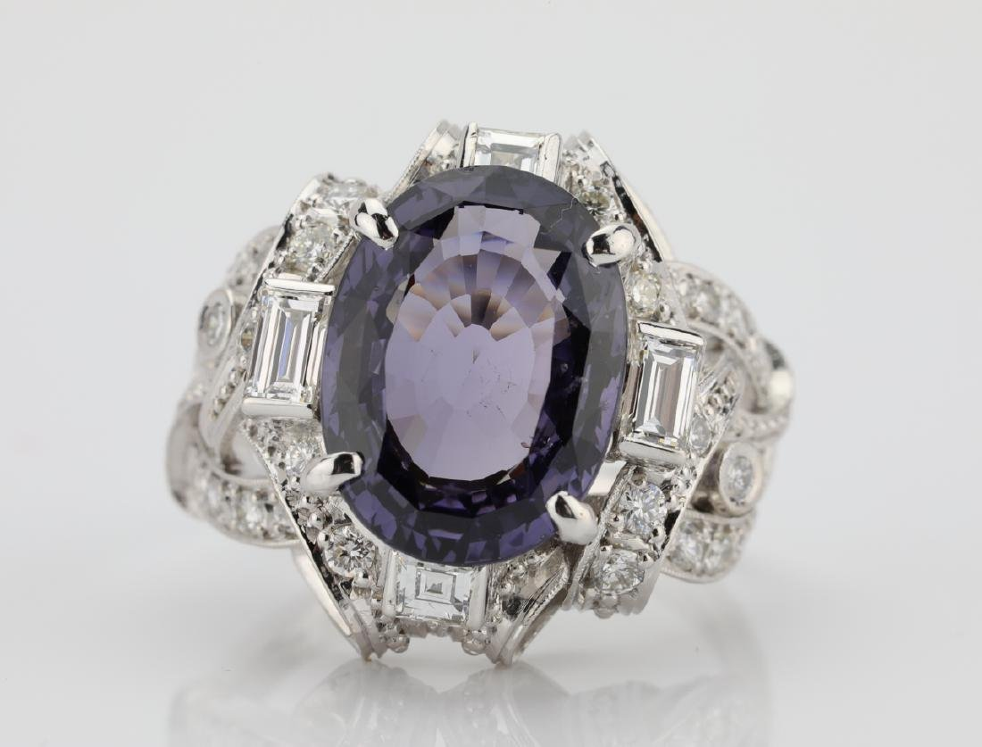 5.25ct Purple Spinel, .75ctw Diamond, Platinum Ring - 4
