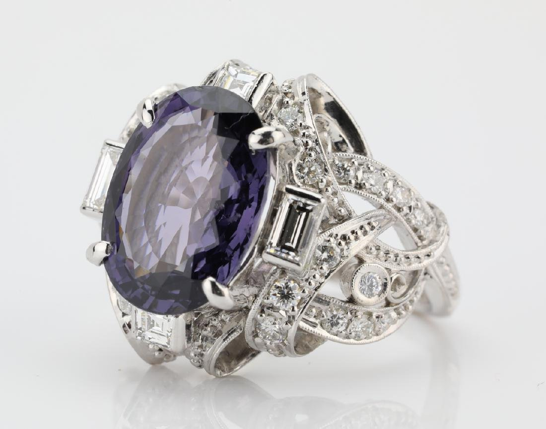 5.25ct Purple Spinel, .75ctw Diamond, Platinum Ring - 5