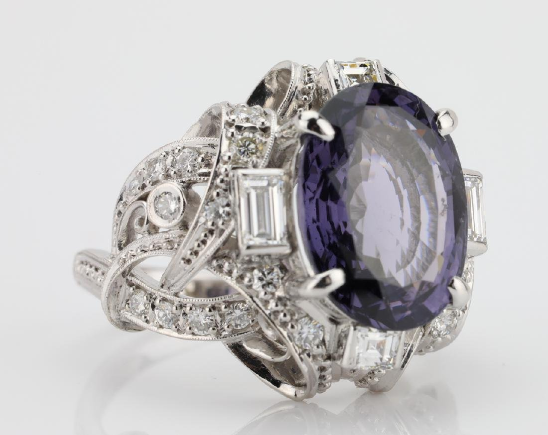5.25ct Purple Spinel, .75ctw Diamond, Platinum Ring - 6