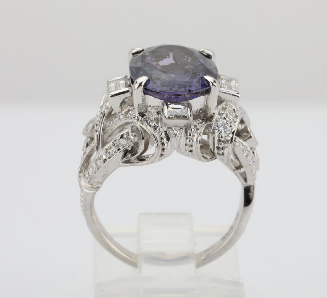 5.25ct Purple Spinel, .75ctw Diamond, Platinum Ring - 8