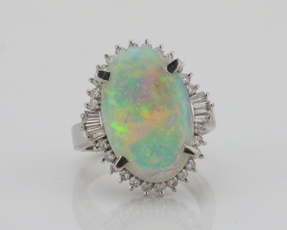 8.80ct Opal, 0.65ctw Diamond & Platinum Ring