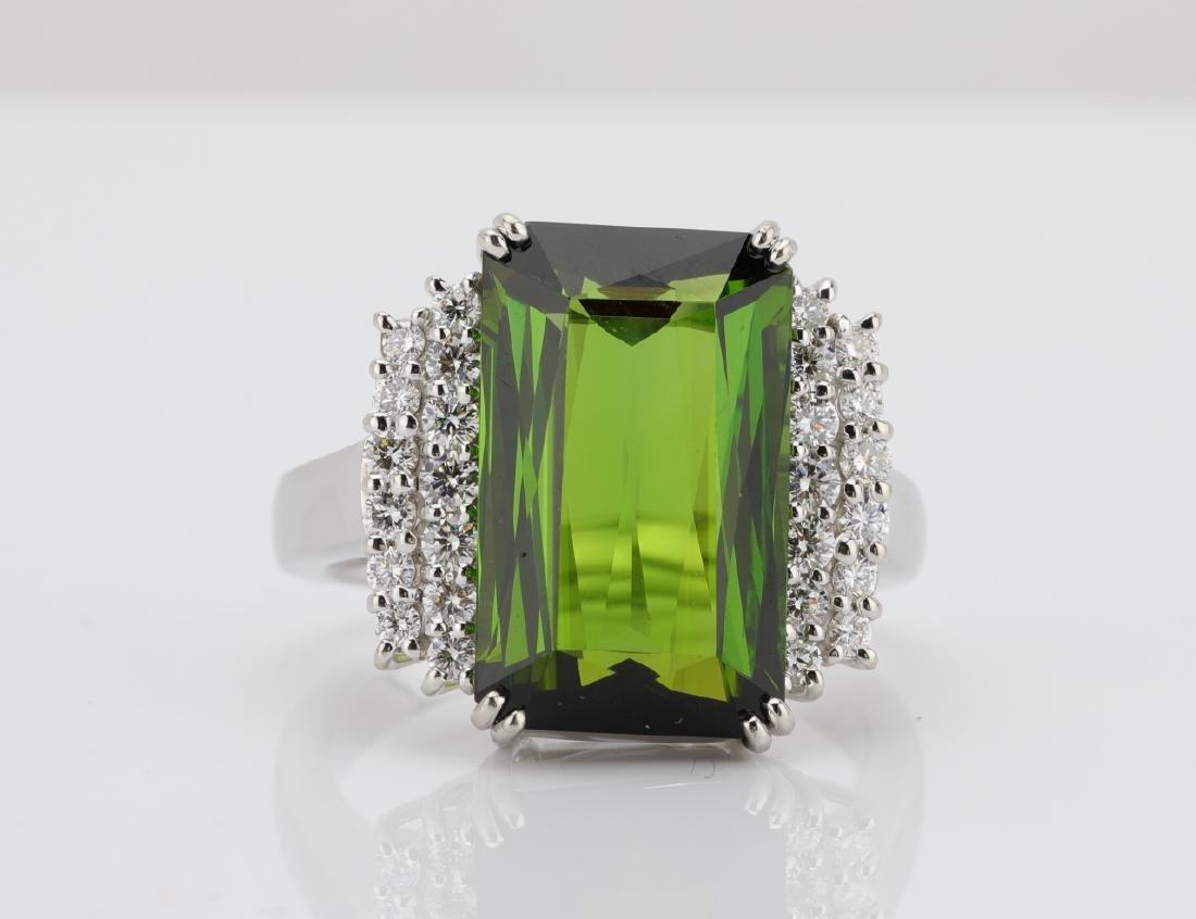 10.50ct Green Tourmaline, Diamond, Platinum Ring