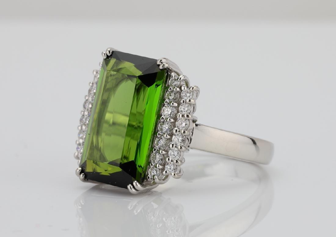 10.50ct Green Tourmaline, Diamond, Platinum Ring - 2