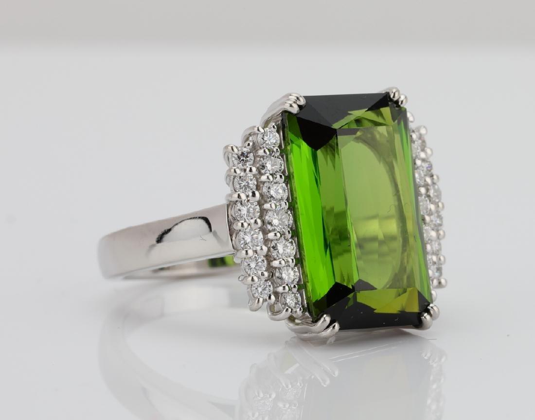 10.50ct Green Tourmaline, Diamond, Platinum Ring - 3