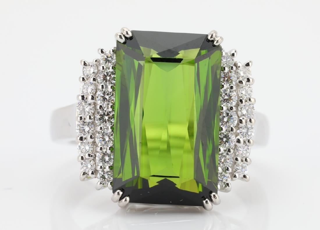 10.50ct Green Tourmaline, Diamond, Platinum Ring - 4