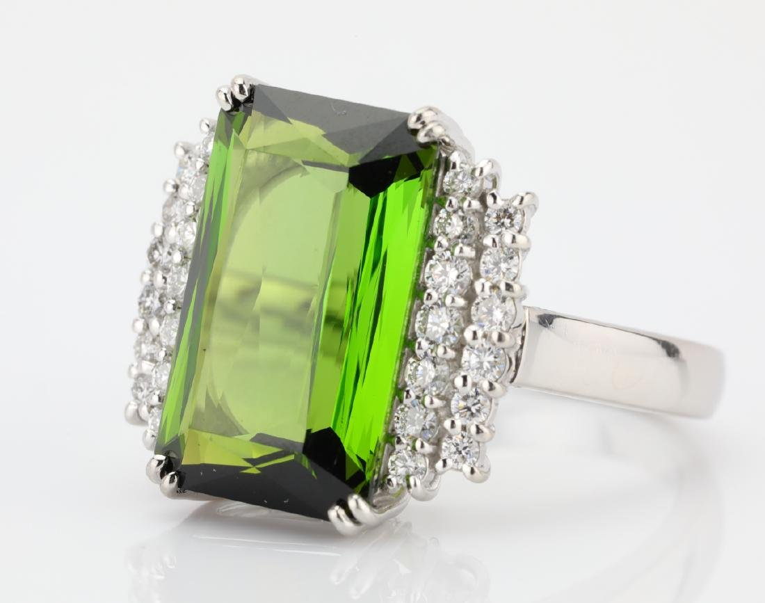 10.50ct Green Tourmaline, Diamond, Platinum Ring - 5