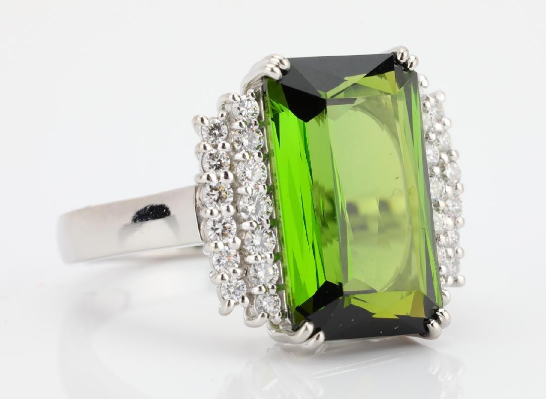 10.50ct Green Tourmaline, Diamond, Platinum Ring - 6