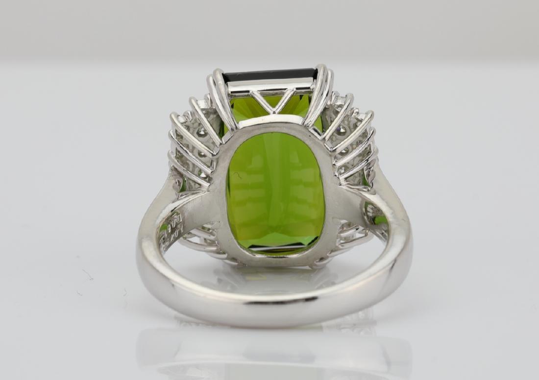 10.50ct Green Tourmaline, Diamond, Platinum Ring - 7
