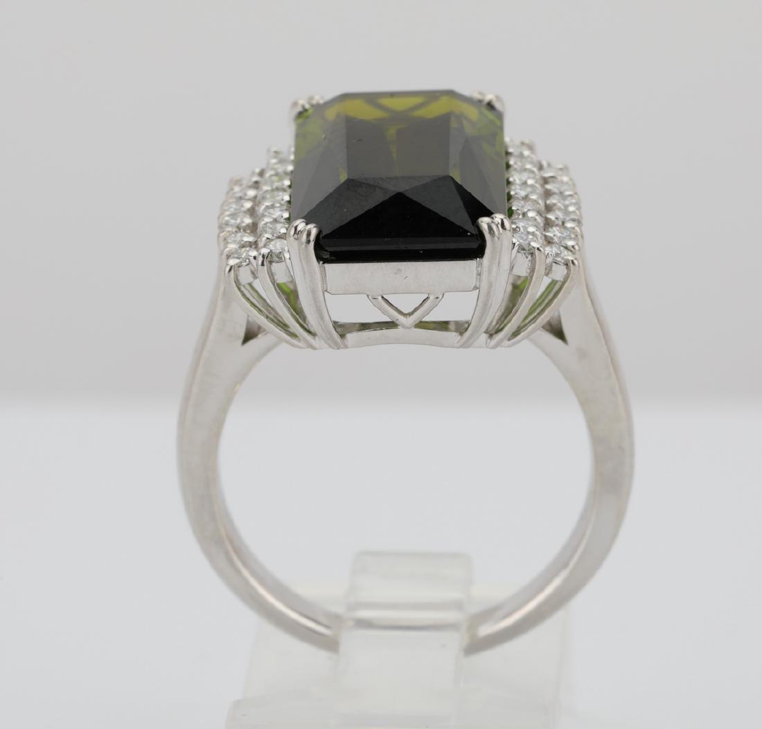 10.50ct Green Tourmaline, Diamond, Platinum Ring - 8