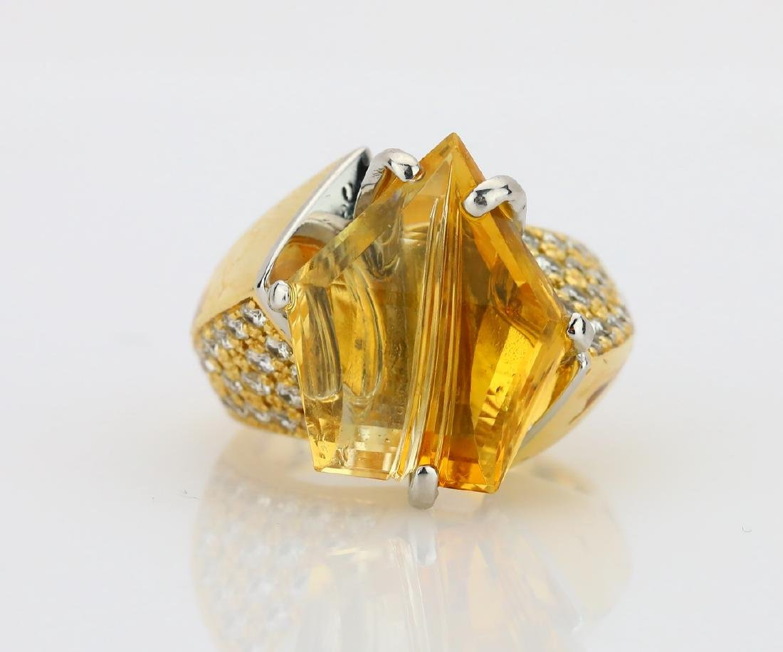 12.25ct Citrine, 1.08ctw Diamond 18K/Plat. Ring