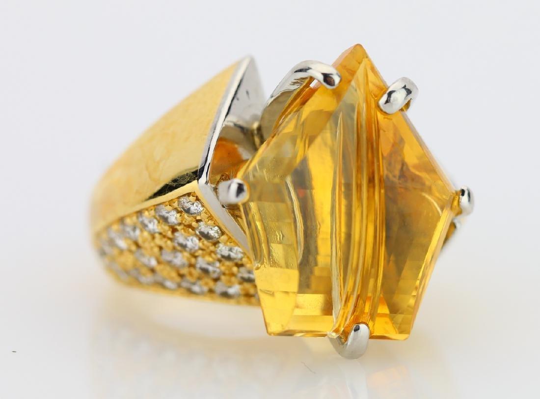 12.25ct Citrine, 1.08ctw Diamond 18K/Plat. Ring - 5