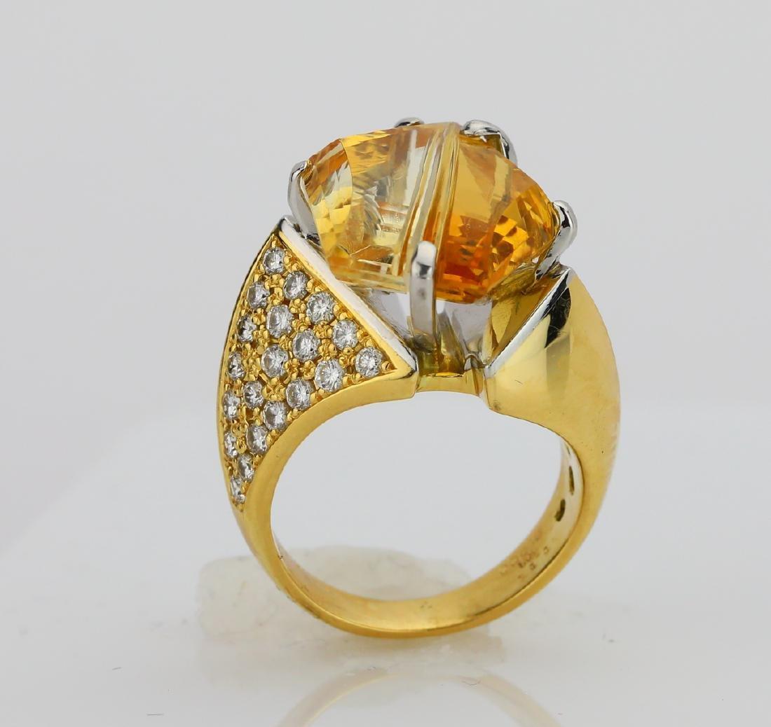 12.25ct Citrine, 1.08ctw Diamond 18K/Plat. Ring - 6