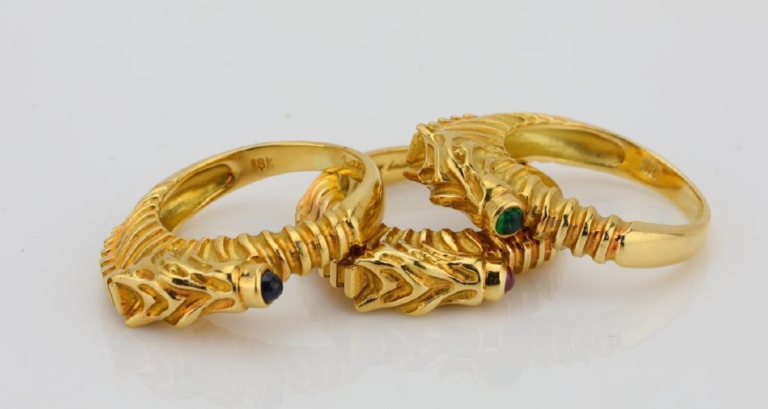 Judith Leiber (3) 18K Zebra Rings W/Gemstones