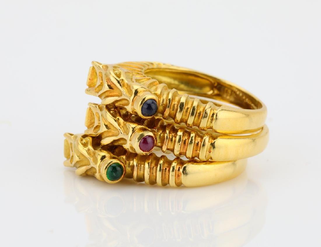 Judith Leiber (3) 18K Zebra Rings W/Gemstones - 2