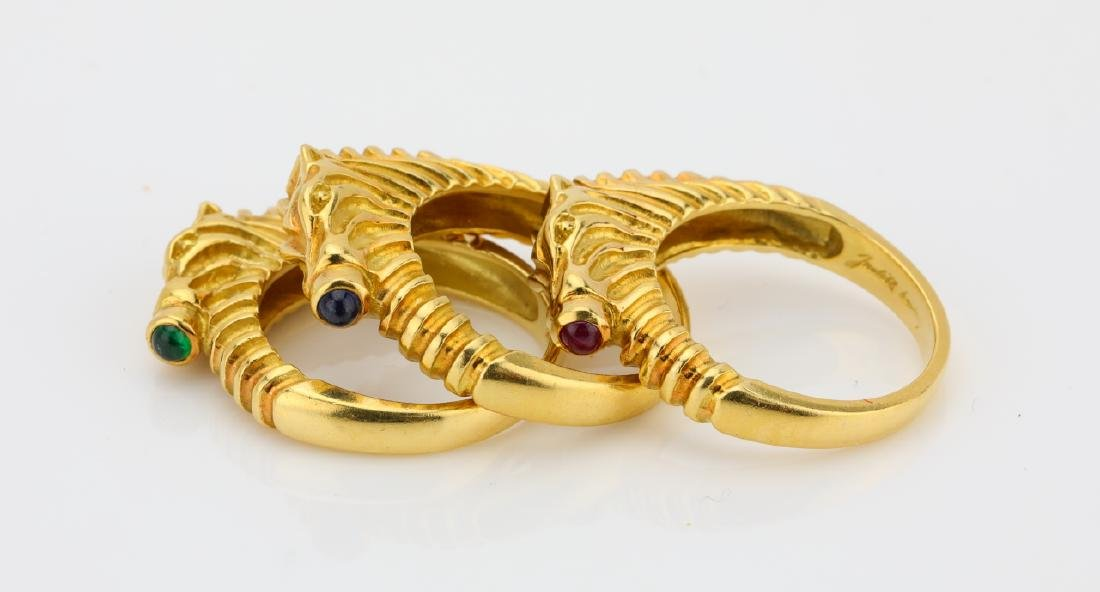 Judith Leiber (3) 18K Zebra Rings W/Gemstones - 4