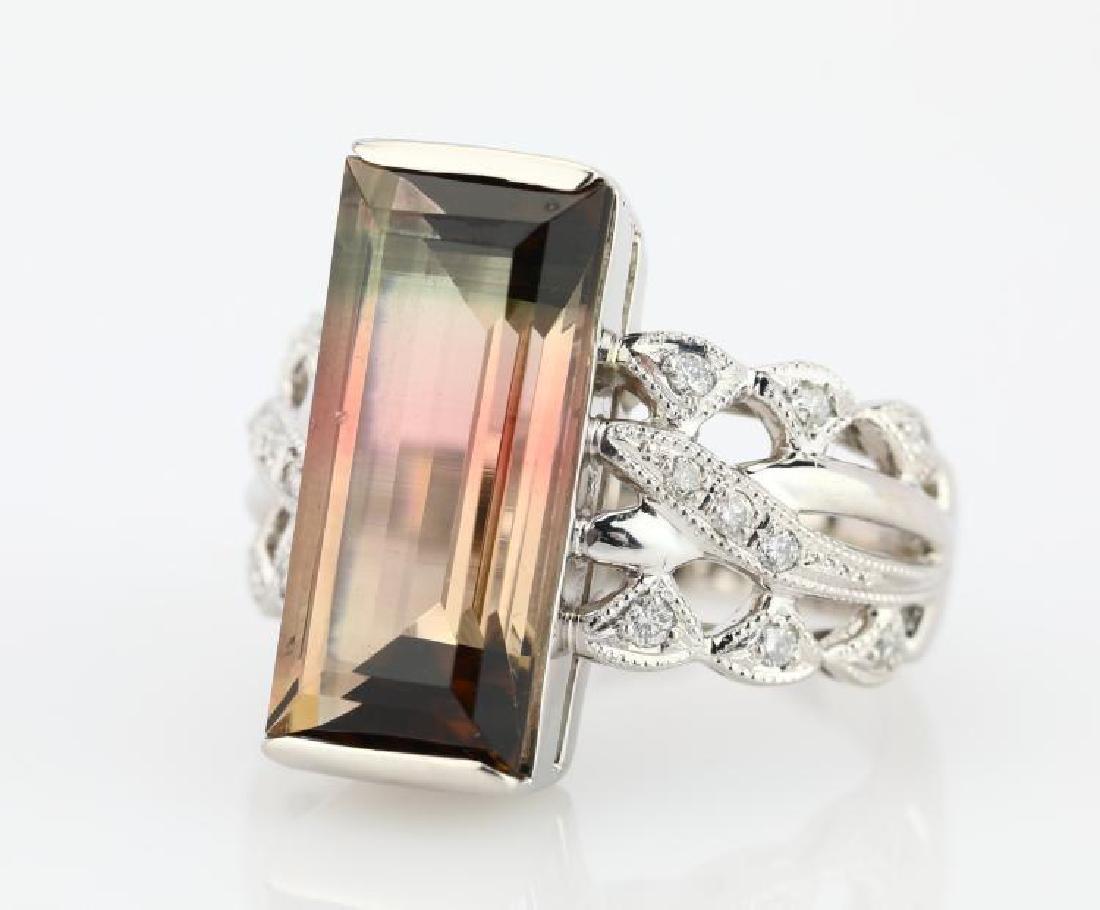 7.9ct Watermelon Tourmaline, Diamond Platinum Ring - 4