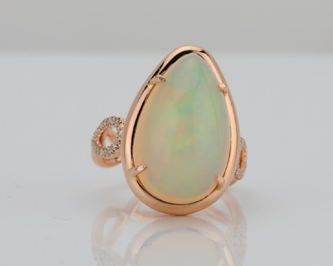 7.50ct Pear-Cut Opal, 0.30ctw Diamond & 18K Ring