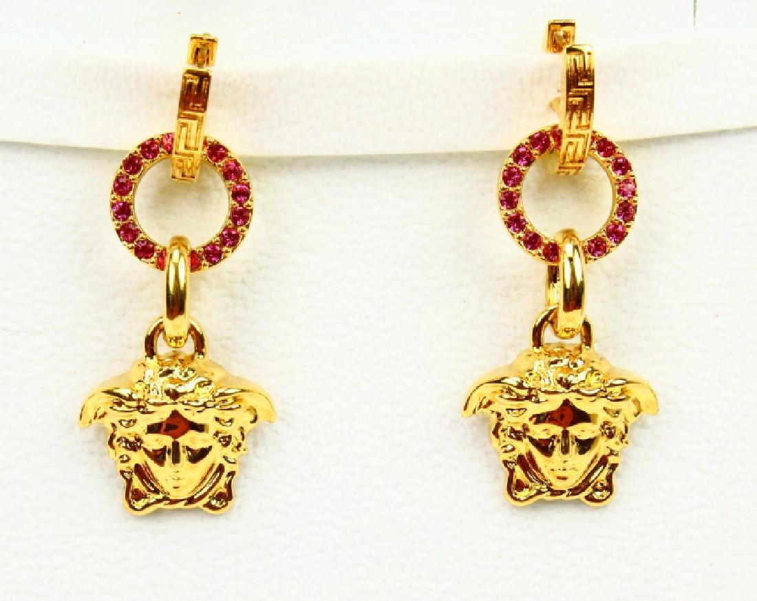 "Versace 2"" Medusa Head Swarovski Crystal Earrings"