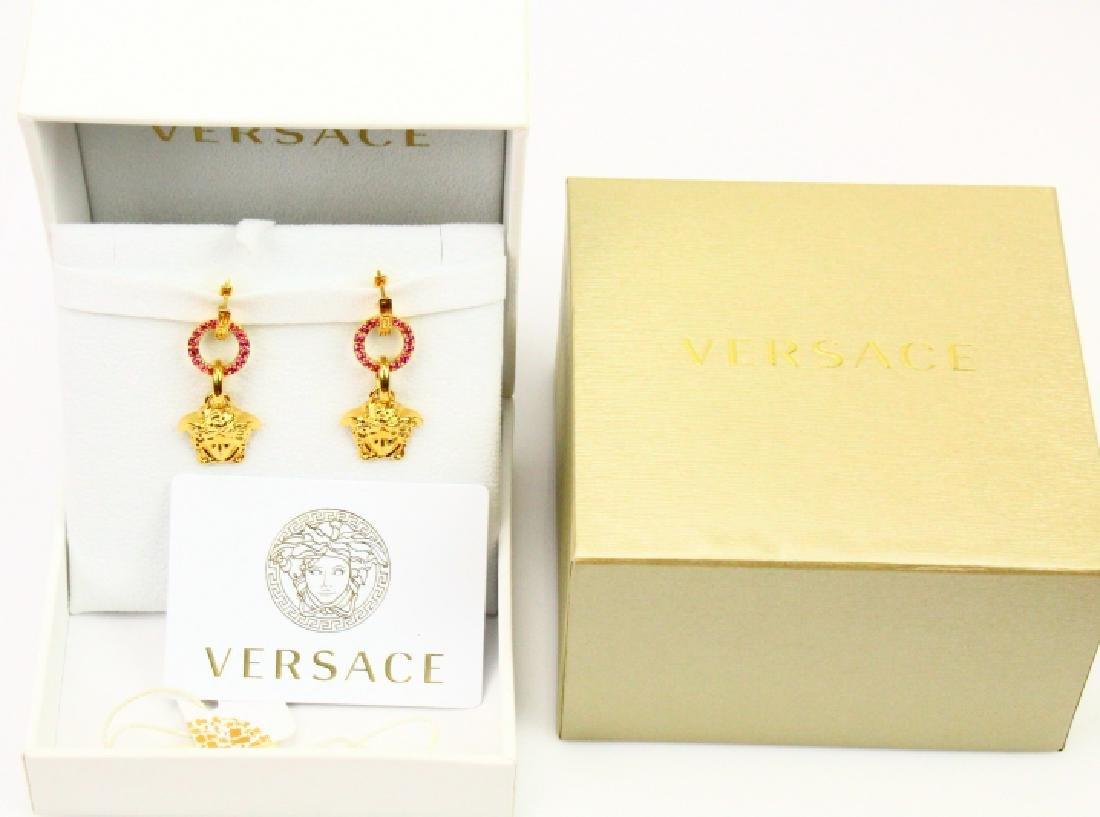 "Versace 2"" Medusa Head Swarovski Crystal Earrings - 4"