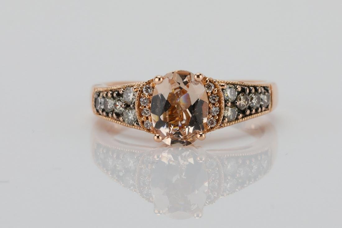 LeVian 1.25ct Morganite & 14K Ring W/Diamonds