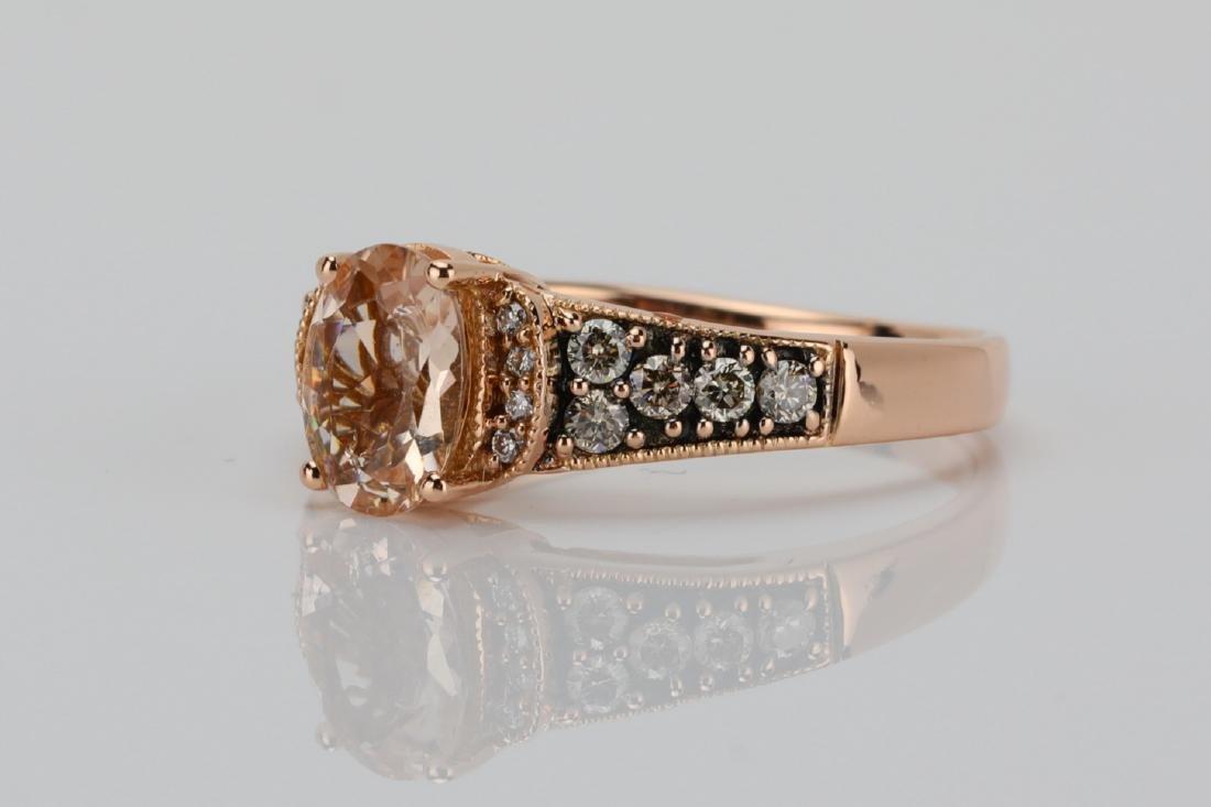 LeVian 1.25ct Morganite & 14K Ring W/Diamonds - 2