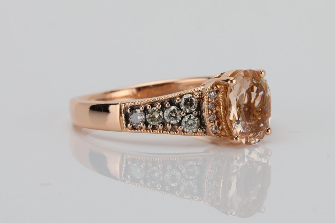 LeVian 1.25ct Morganite & 14K Ring W/Diamonds - 3