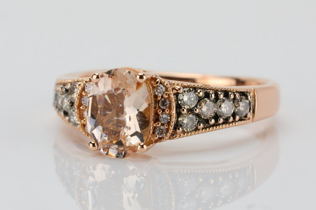 LeVian 1.25ct Morganite & 14K Ring W/Diamonds - 4