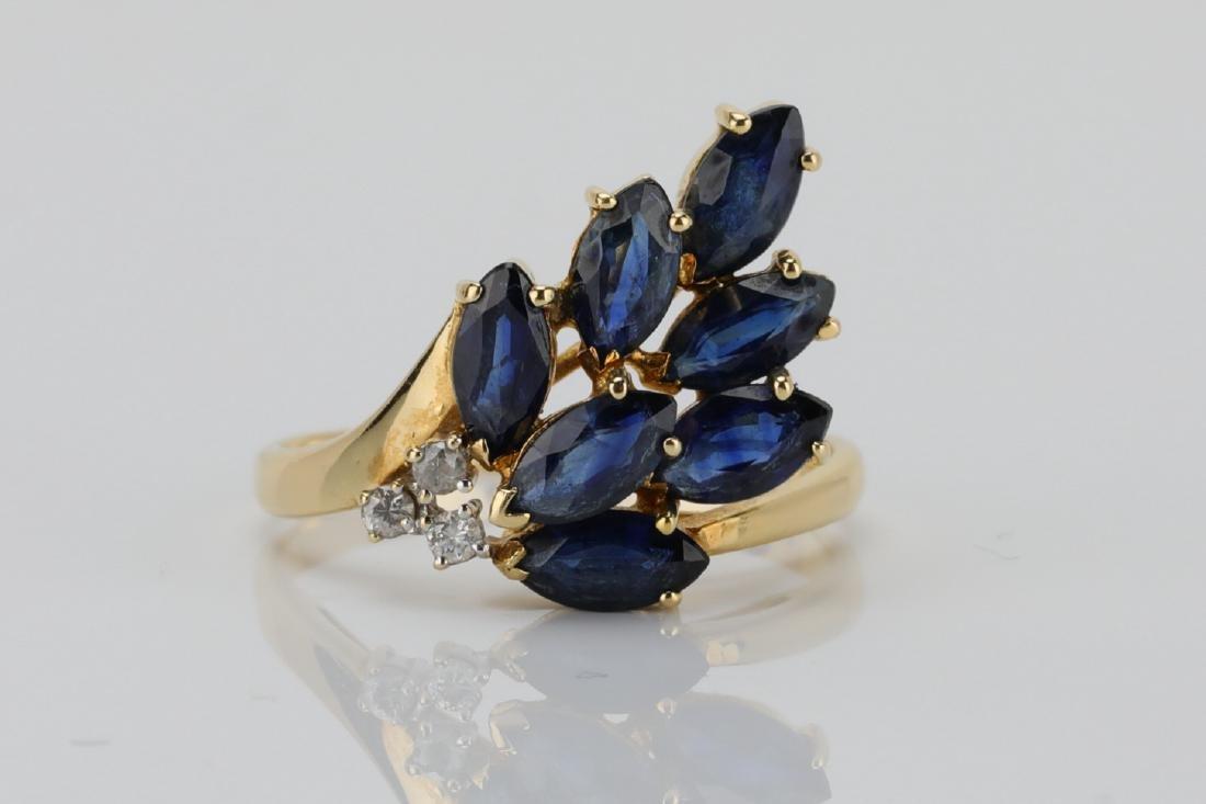 1.50ctw Blue Sapphire & 14K Ring W/Diamonds