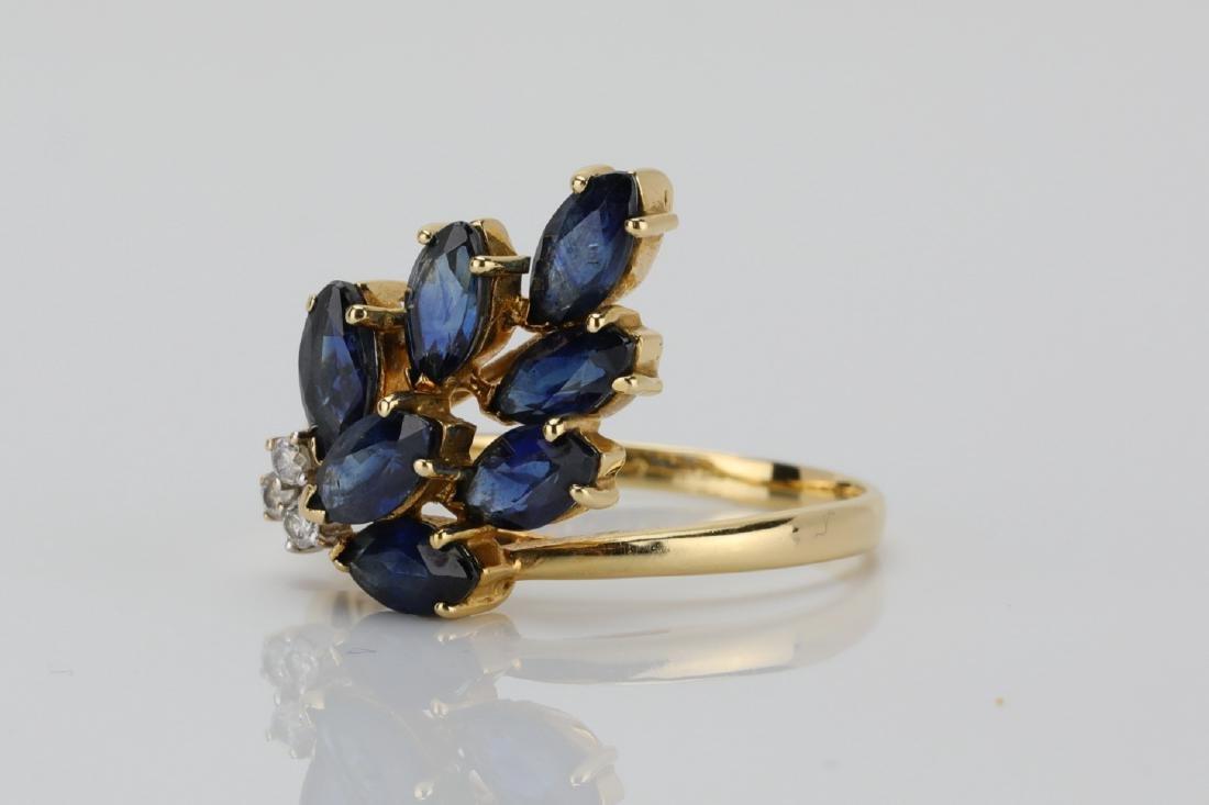 1.50ctw Blue Sapphire & 14K Ring W/Diamonds - 2