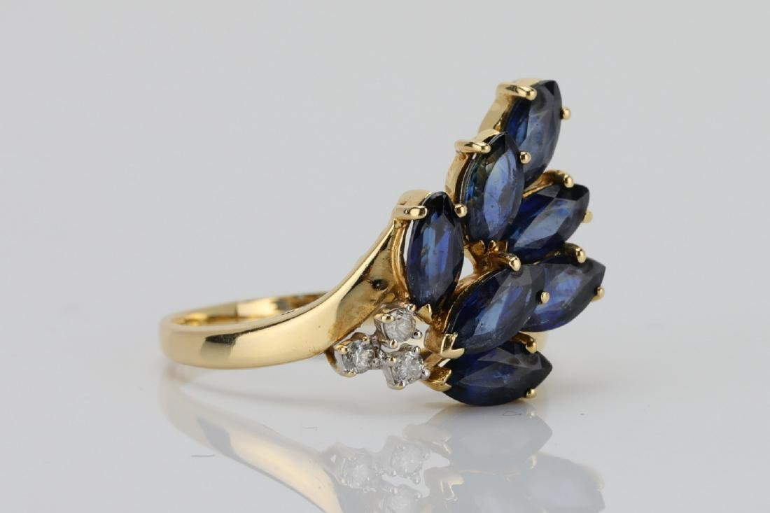 1.50ctw Blue Sapphire & 14K Ring W/Diamonds - 3