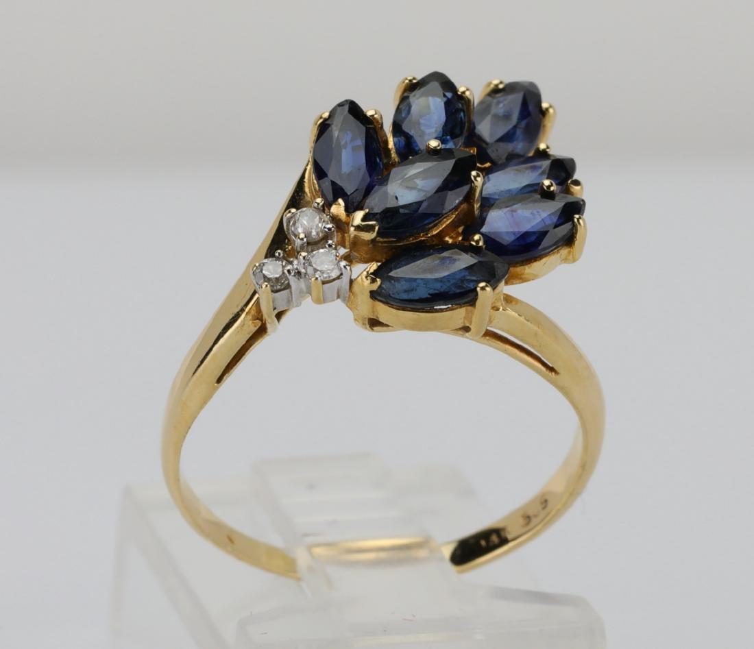 1.50ctw Blue Sapphire & 14K Ring W/Diamonds - 4