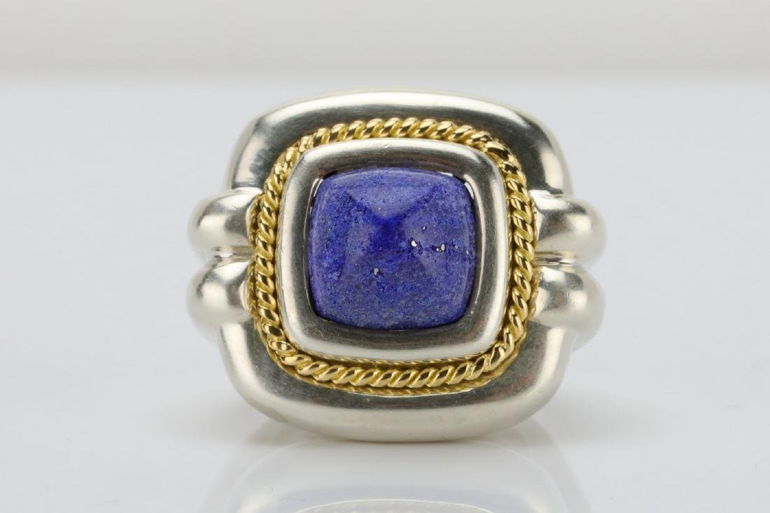 Tiffany & Co. Sterling Silver & 18K Ring W/Lapis