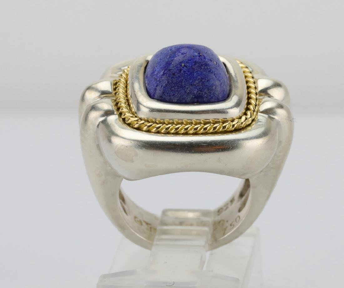 Tiffany & Co. Sterling Silver & 18K Ring W/Lapis - 5