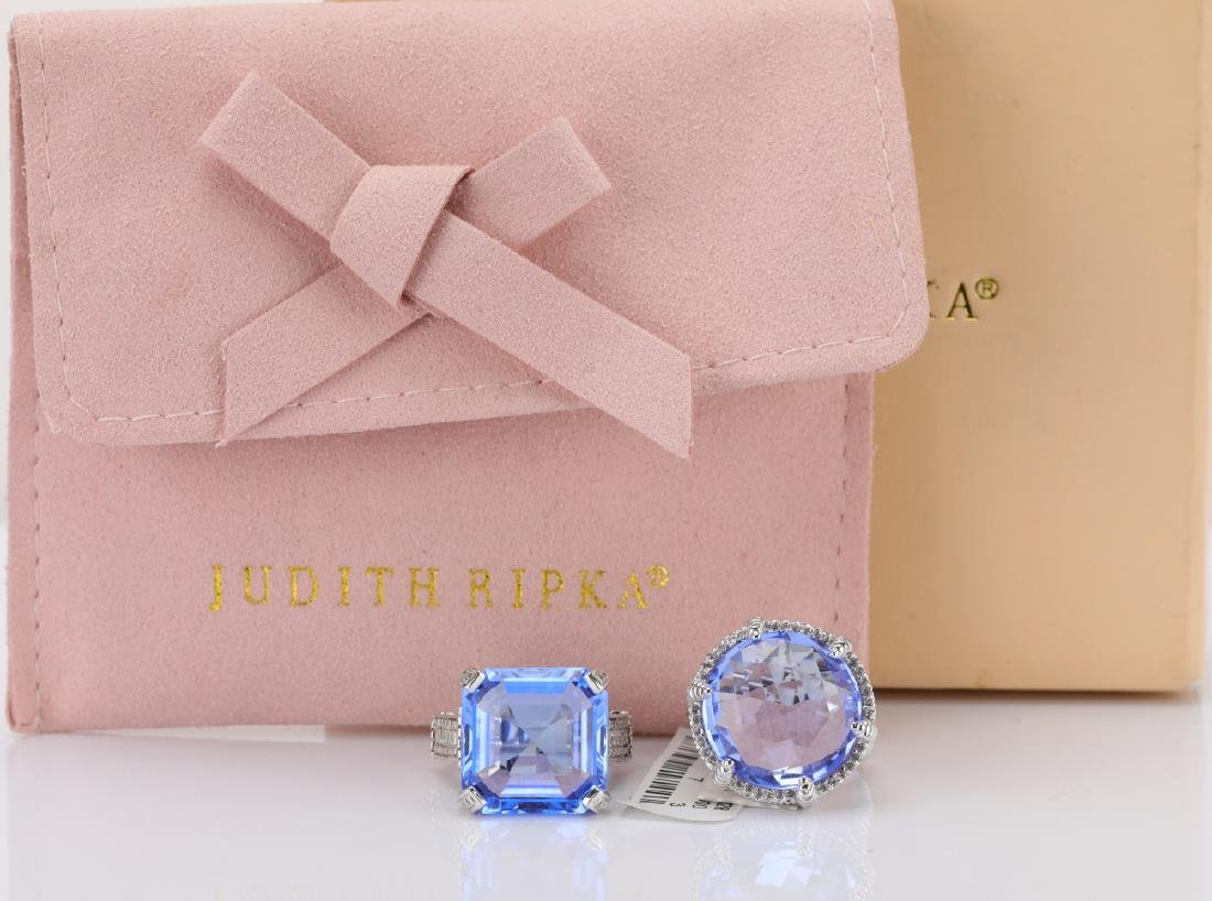 Judith Ripka Sterling Silver & Blue Gemstone Rings