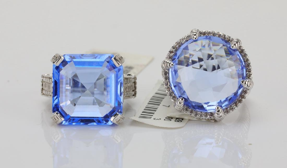 Judith Ripka Sterling Silver & Blue Gemstone Rings - 2