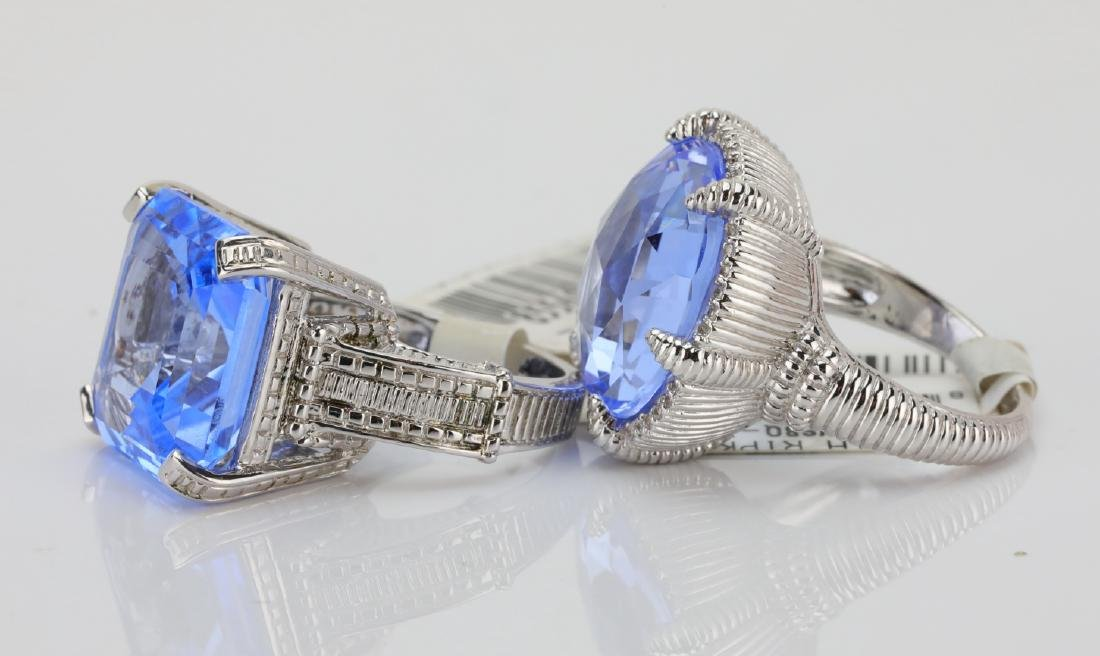 Judith Ripka Sterling Silver & Blue Gemstone Rings - 3