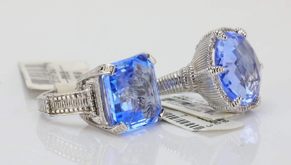 Judith Ripka Sterling Silver & Blue Gemstone Rings - 4