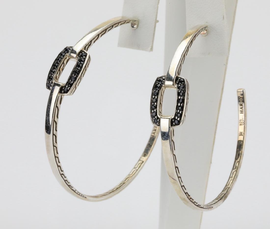 John Hardy Black Sapphire & Sterling Earrings