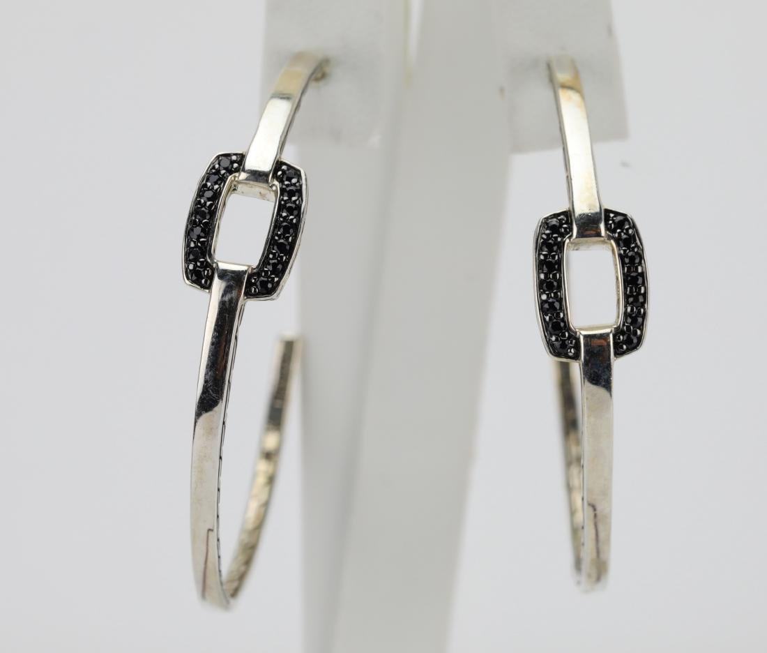 John Hardy Black Sapphire & Sterling Earrings - 2