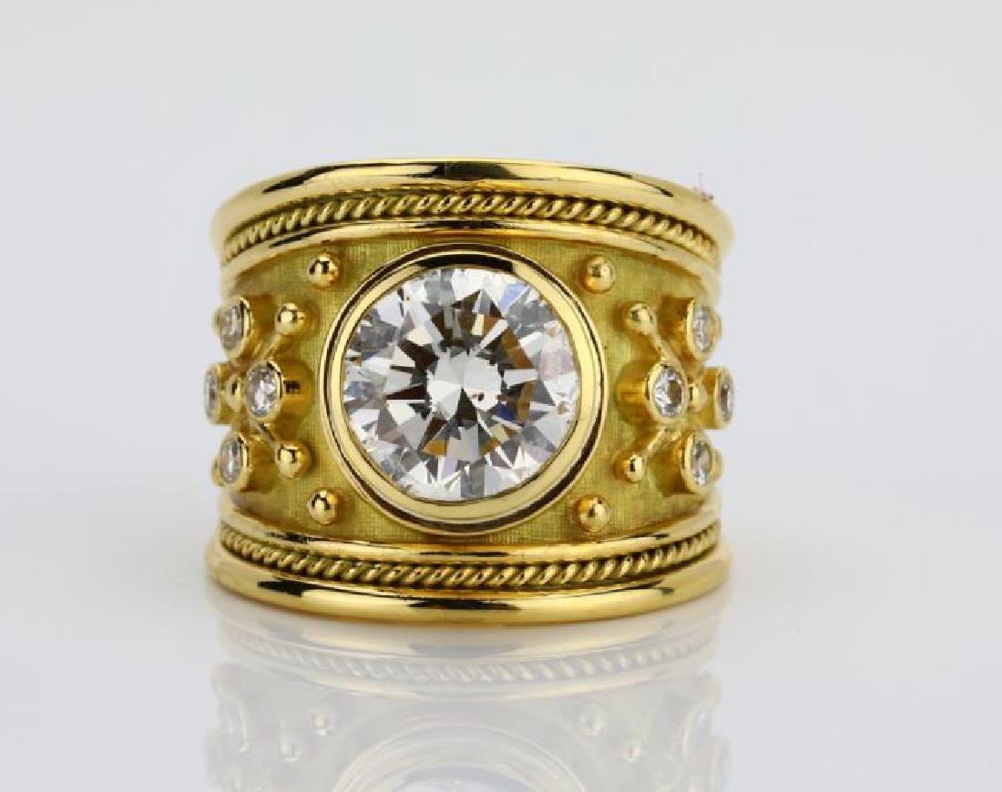 Elizabeth Gage 4.01ct GIA SI2/I Diamond 18K Ring