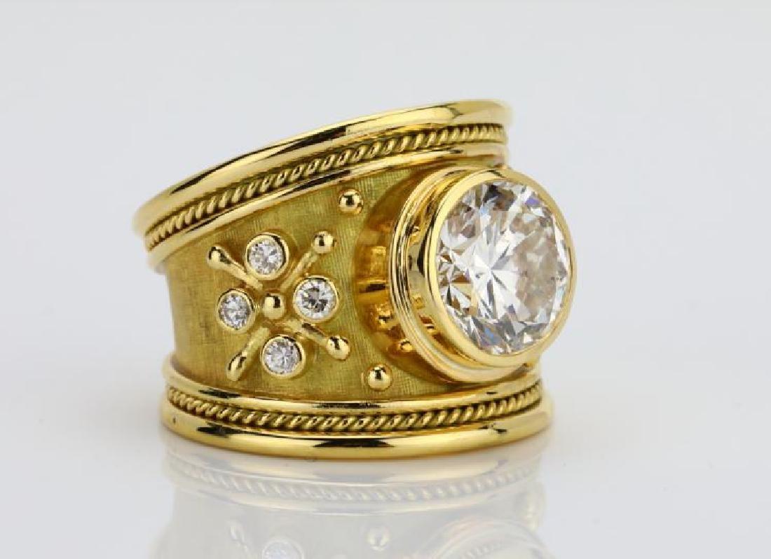 Elizabeth Gage 4.01ct GIA SI2/I Diamond 18K Ring - 6