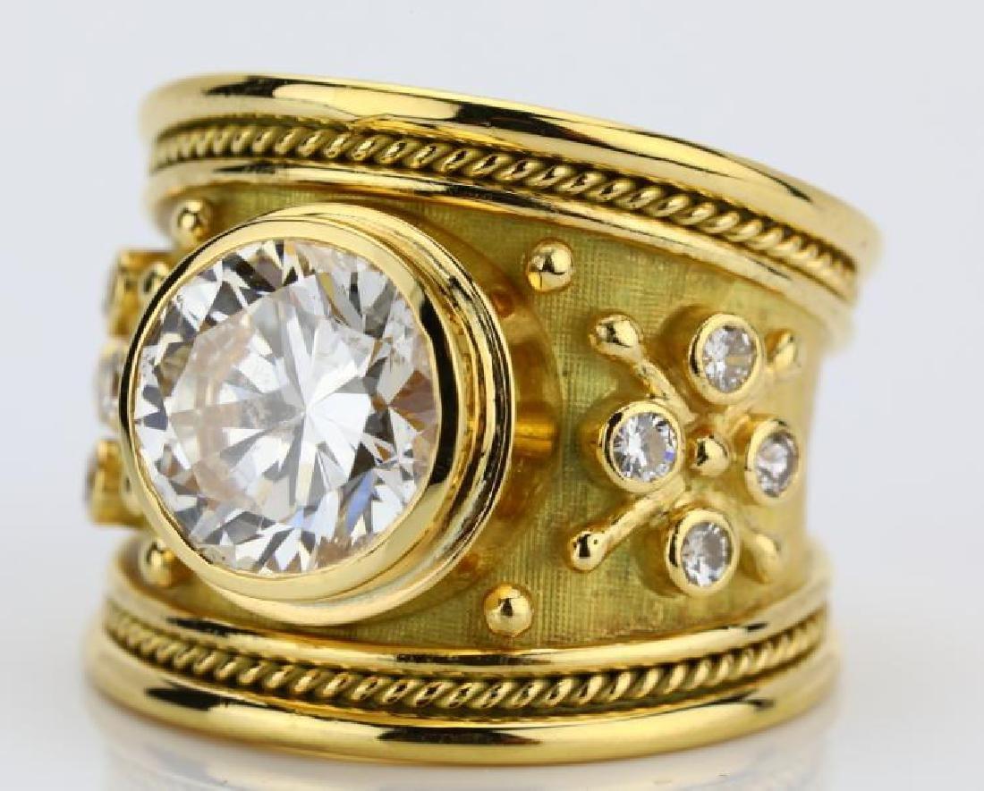Elizabeth Gage 4.01ct GIA SI2/I Diamond 18K Ring - 8