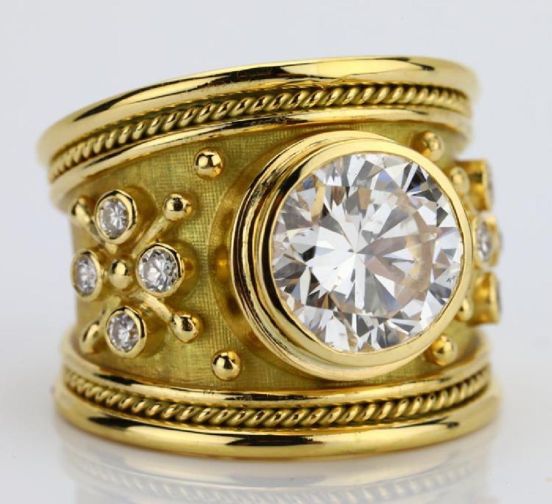 Elizabeth Gage 4.01ct GIA SI2/I Diamond 18K Ring - 9