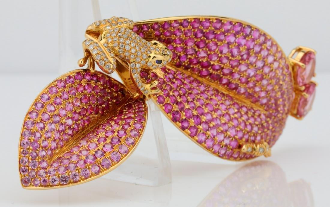7.50ctw Pink Tourmaline 18K Frog Brooch W/Diamonds - 3