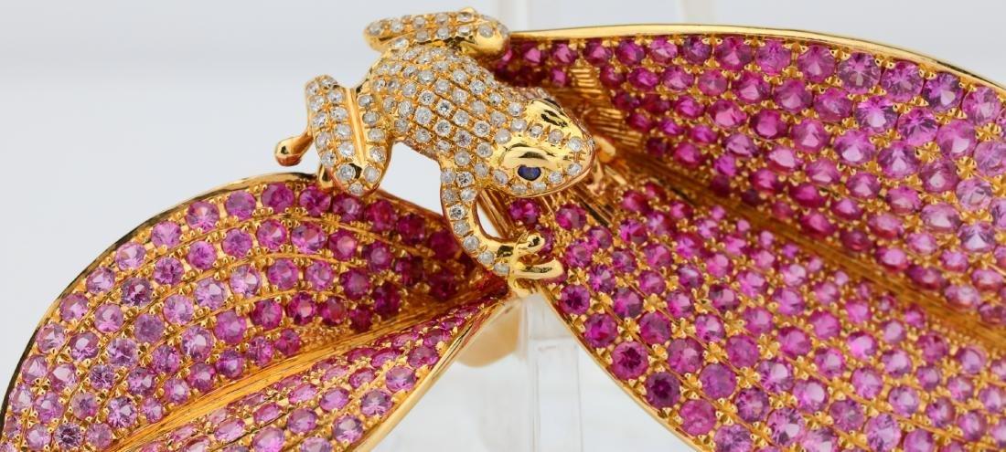 7.50ctw Pink Tourmaline 18K Frog Brooch W/Diamonds - 4