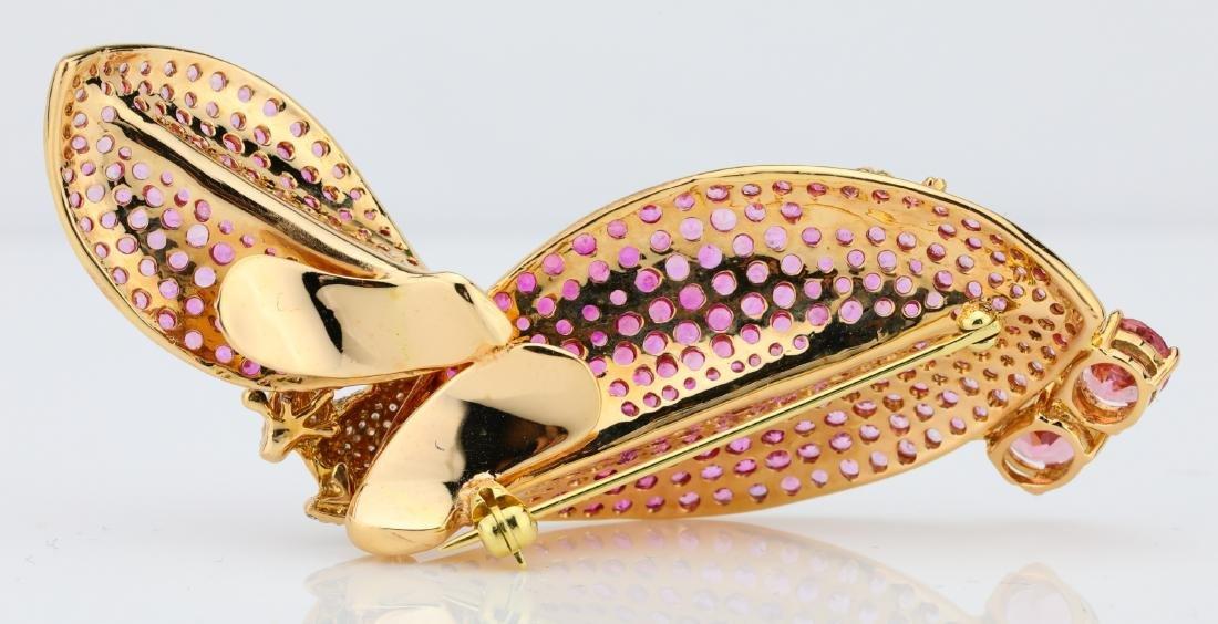 7.50ctw Pink Tourmaline 18K Frog Brooch W/Diamonds - 7